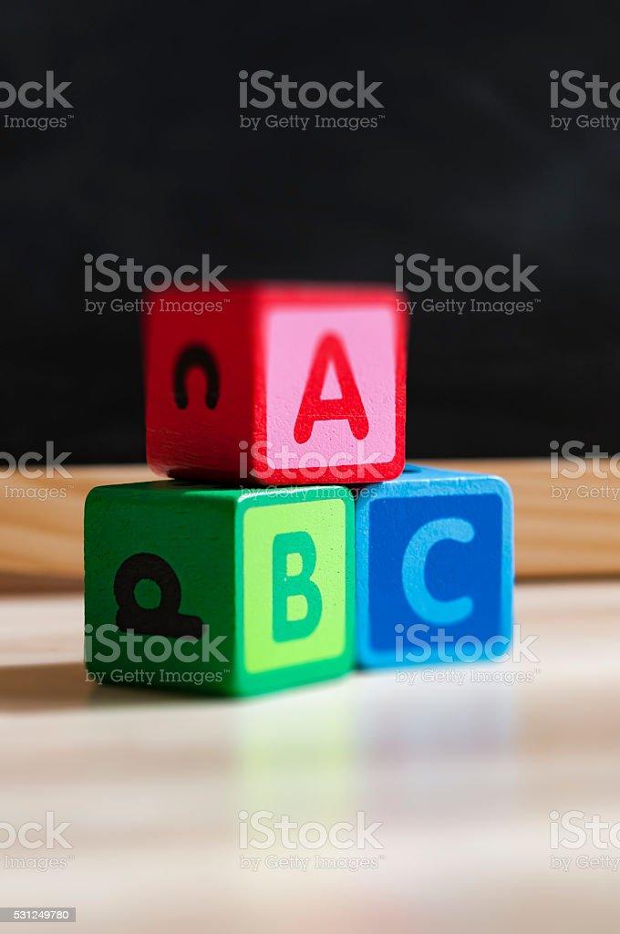 children's ABC building blocks stock photo