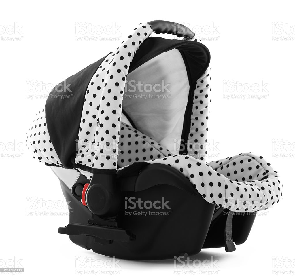 Children's automobile armchair isolated on a white background stock photo