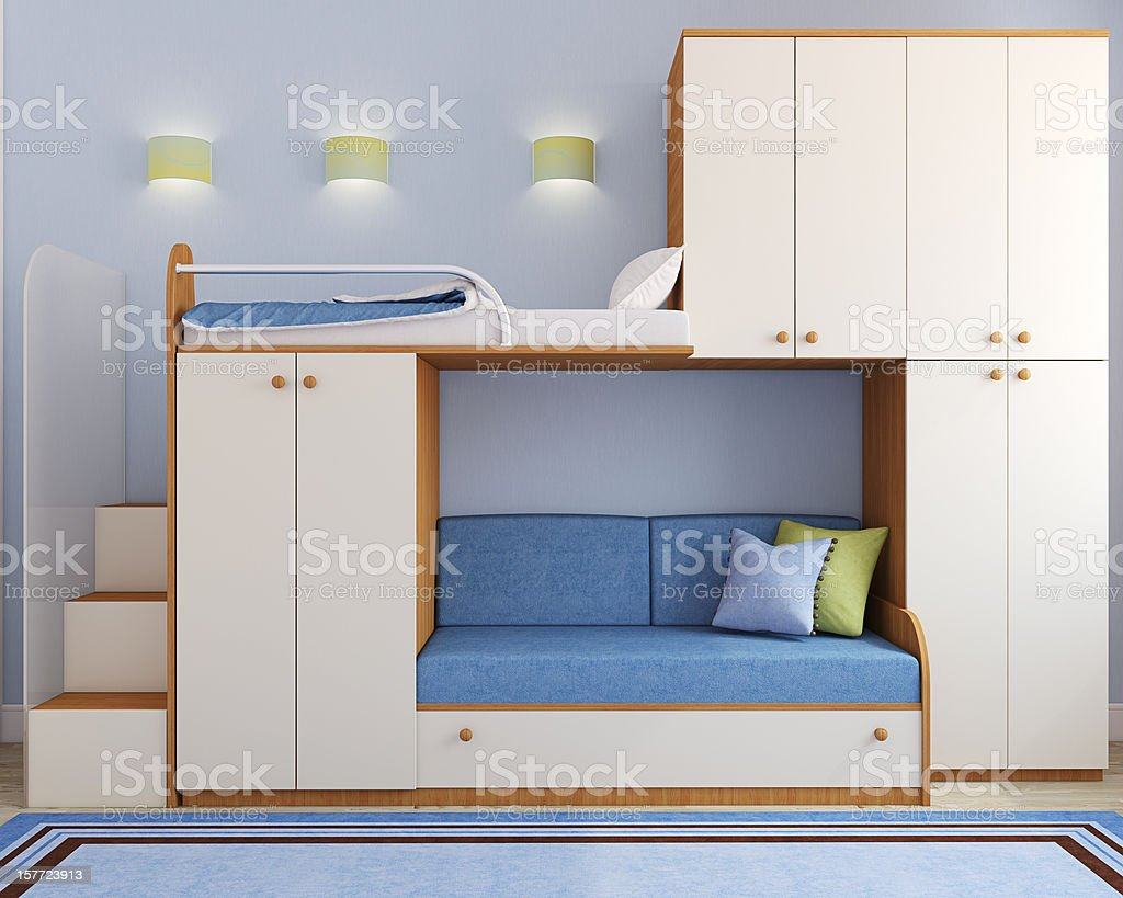 Children's bedroom in blue royalty-free stock photo