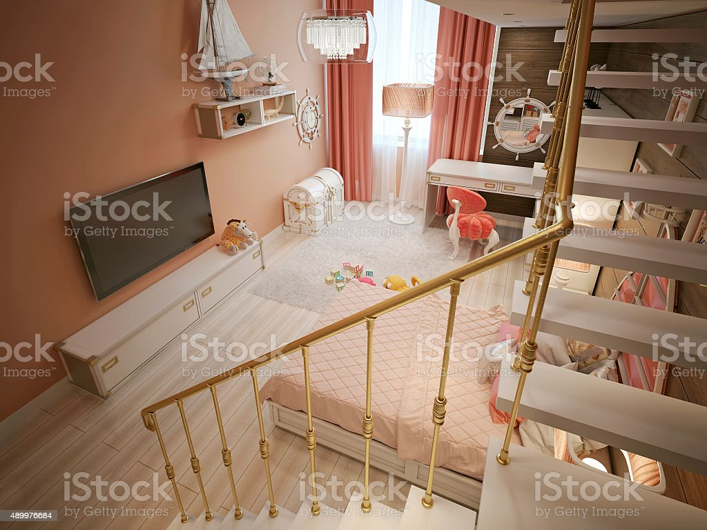 Children's bedroom in classic style stock photo