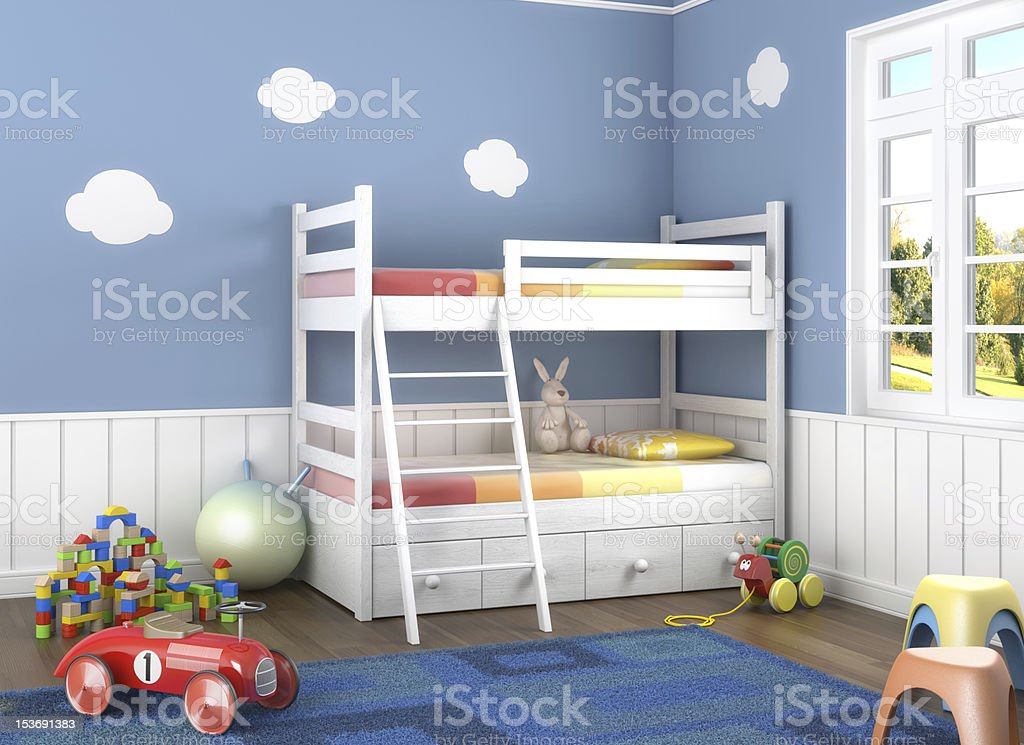 Children's bedroom with white bunk beds royalty-free stock photo