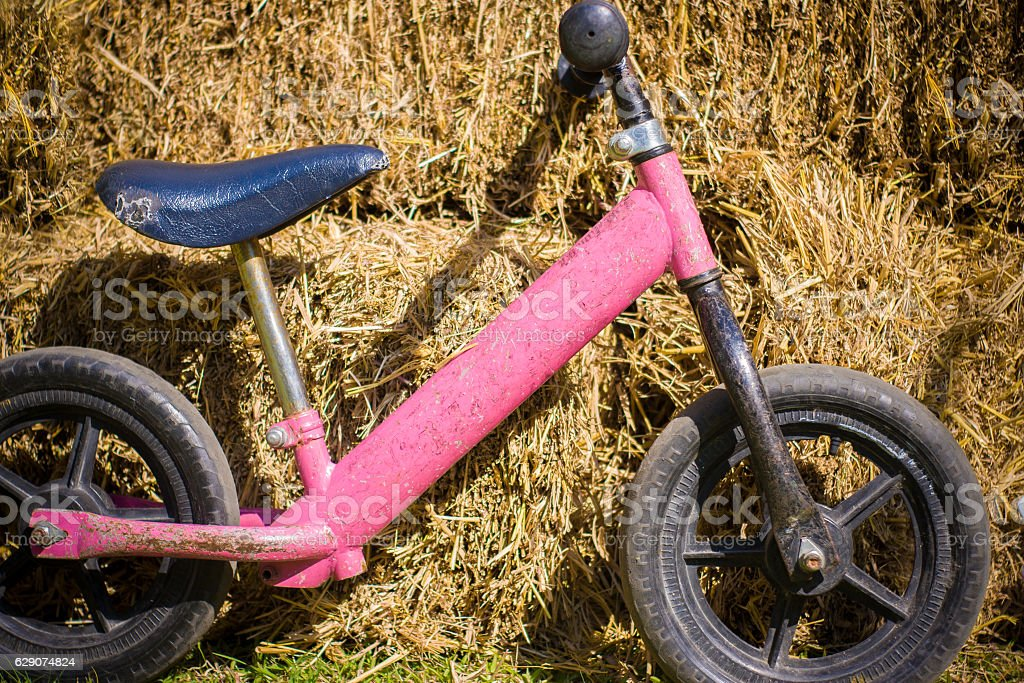 Children's bicycles  front focus, blurred background stock photo