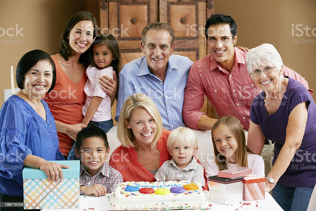 Children's birthday party with colorful cake royalty-free stock photo