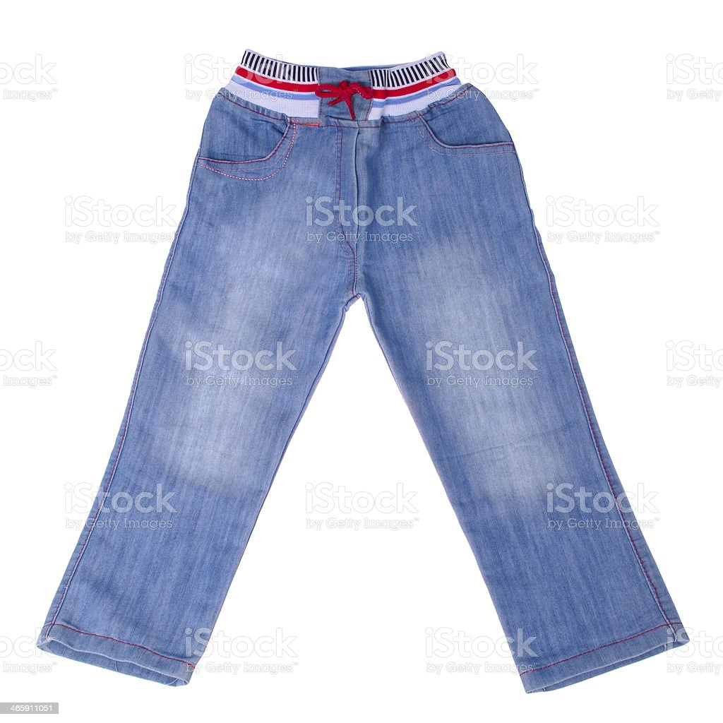Children's blue jeans. (Clipping path) royalty-free stock photo
