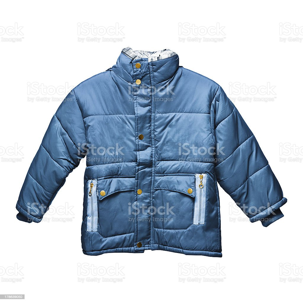 Children's blue parka stock photo