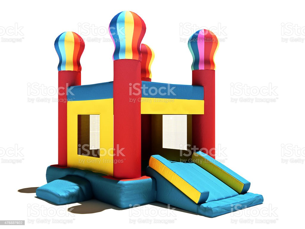 Children's Bounce house on a white background stock photo