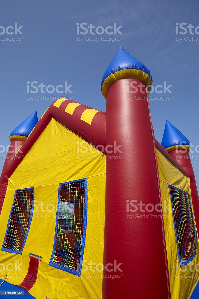 Childrens Bouncy Castle Inflatable Playground Close-up stock photo