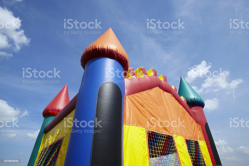 Children's Bouncy Castle Inflatable Playground Top Half stock photo