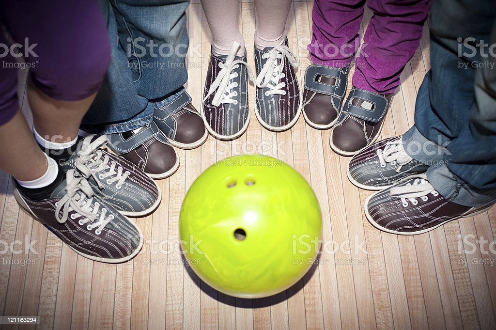 Children's bowling stock photo