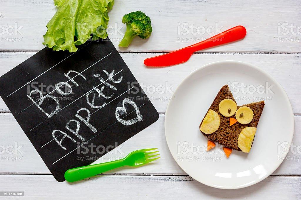 children's breakfast owl shaped sandwich bon appetit stock photo