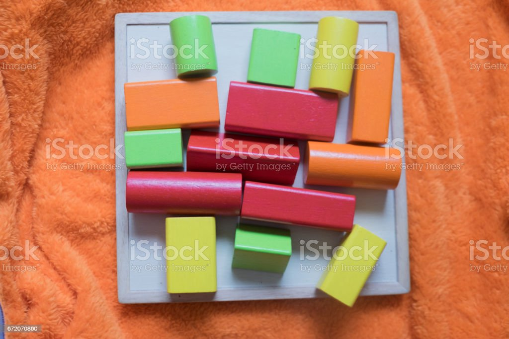Children's building wooden blocks, creativity toys stock photo