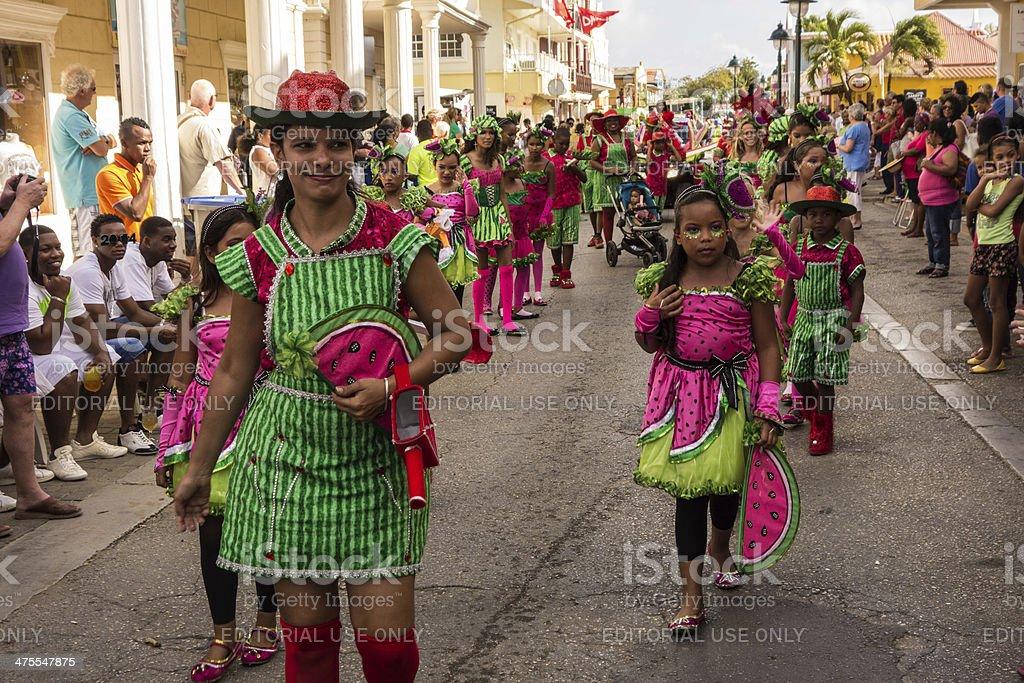 Children's Carnival Parade, Bonaire stock photo