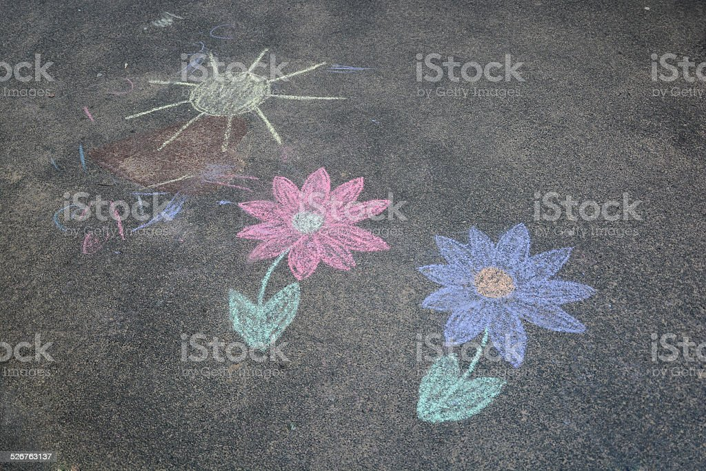 Children's chalk drawing stock photo