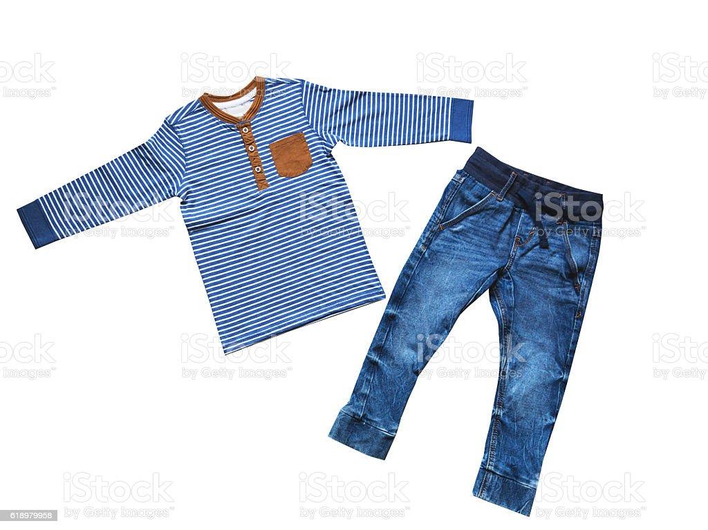 Children's clothes, boy set outfit, concept of child fashion. stock photo