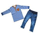 Children's clothes, boy set outfit, concept of child fashion.