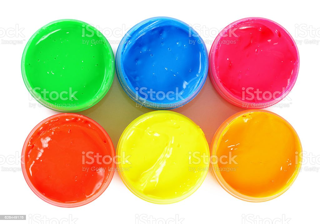 Children's colorful finger paints in jars stock photo