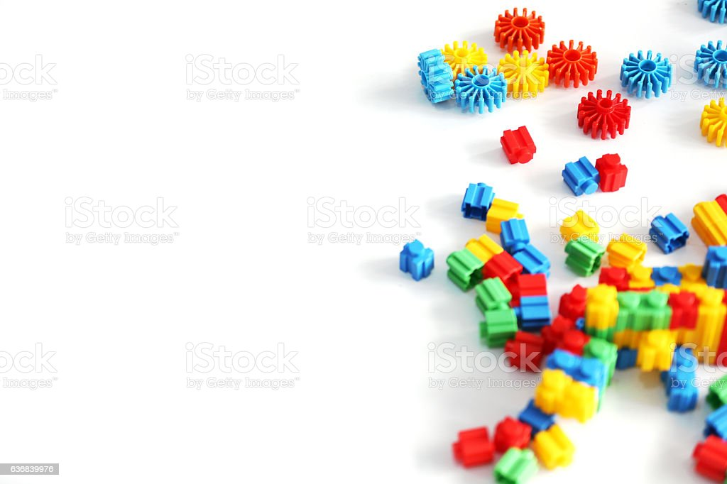 Childrens coloured bricks stock photo