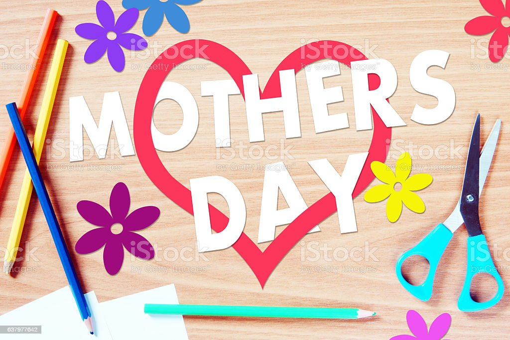 Childrens congratulation with Mothers day stock photo