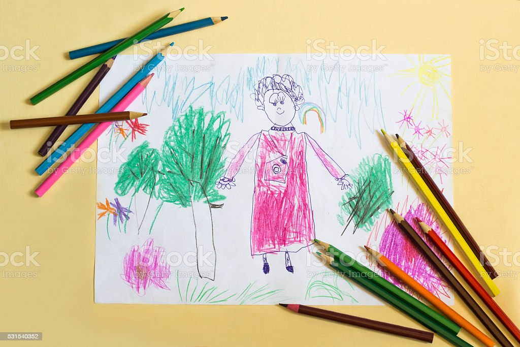 Children's drawing for Mother's Day stock photo