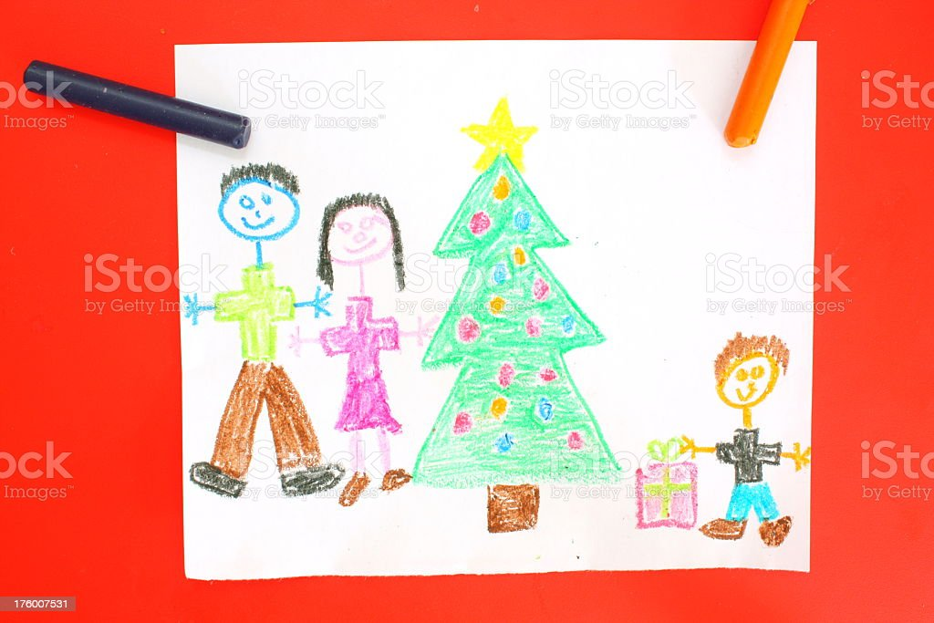 Children's drawing of Christmas royalty-free stock photo