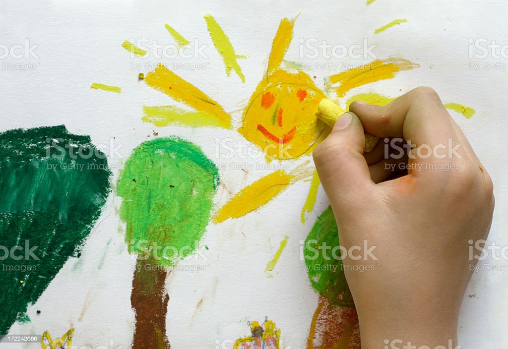 Children's drawing of Spring stock photo
