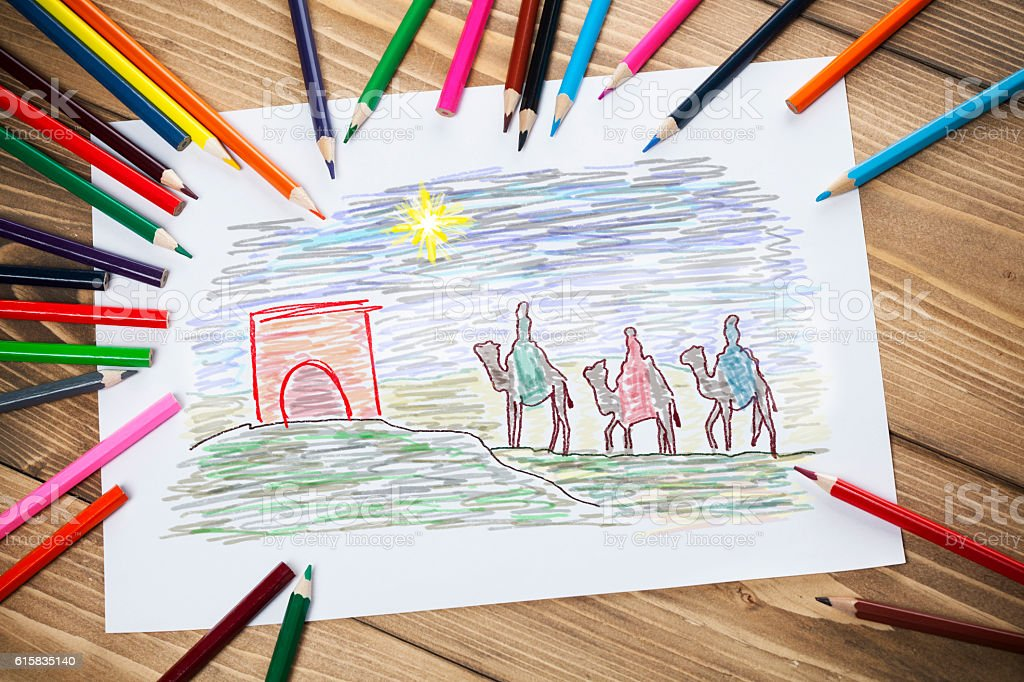 Children's drawings stock photo