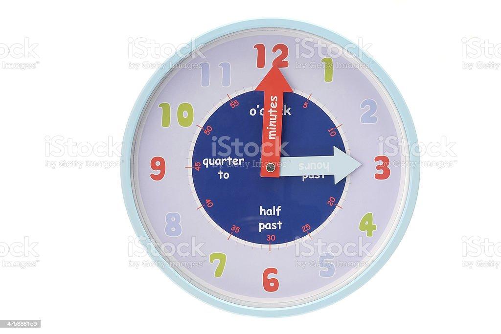 Childrens educational wall clock stock photo