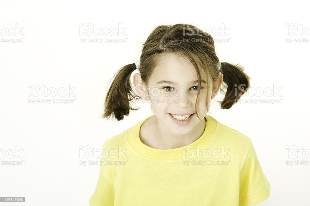Childrens Faces of Diversity Pigtails royalty-free stock photo