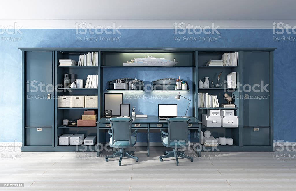 Children's furniture storage system with two built-in desks. stock photo