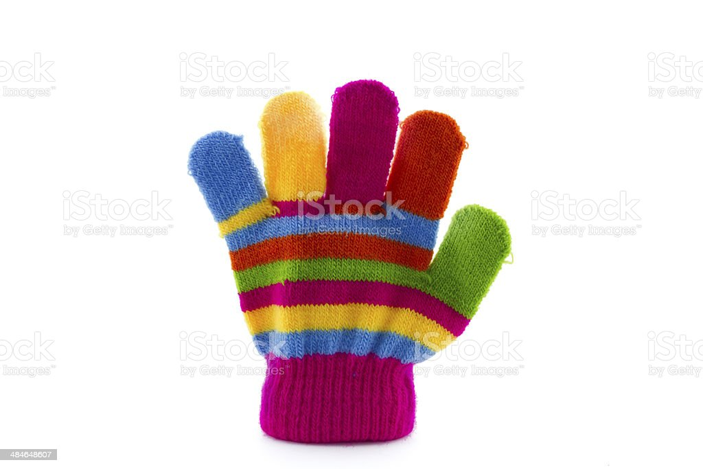 children's glove with colorful stripes stock photo