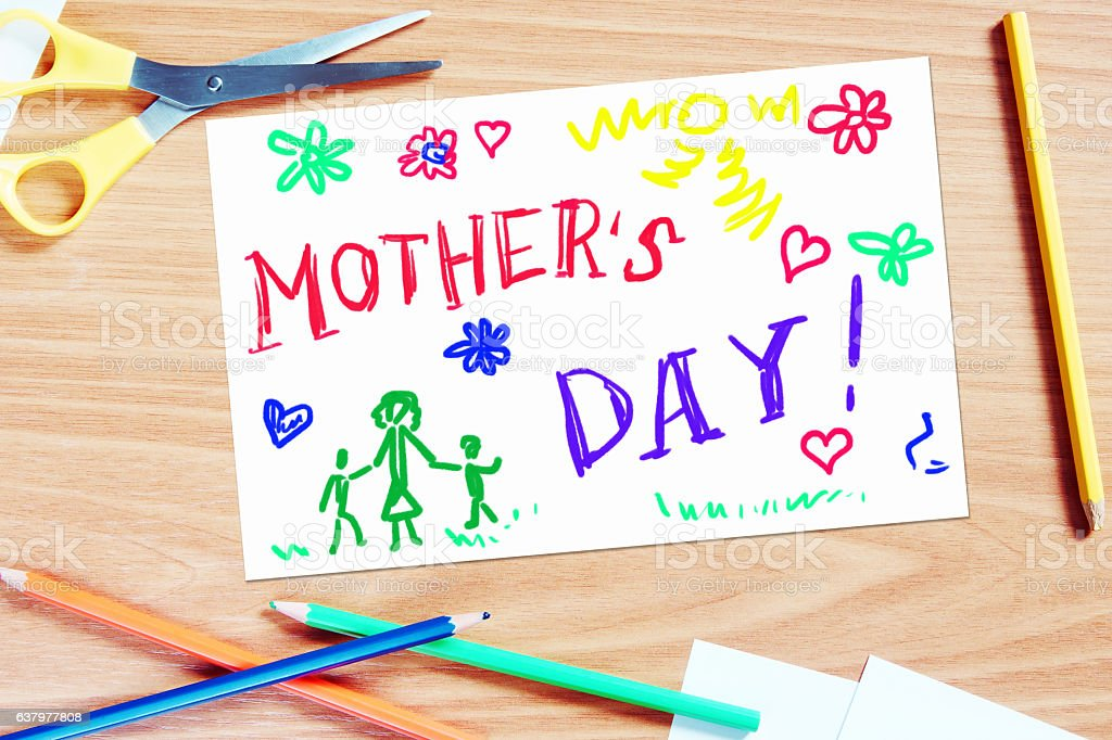 Childrens greeting with Mothers day stock photo