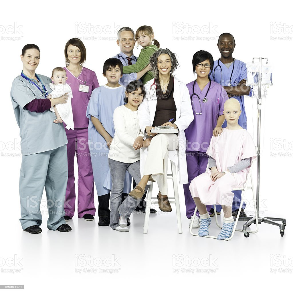Children's Hospital with Diversity (Isolated) royalty-free stock photo