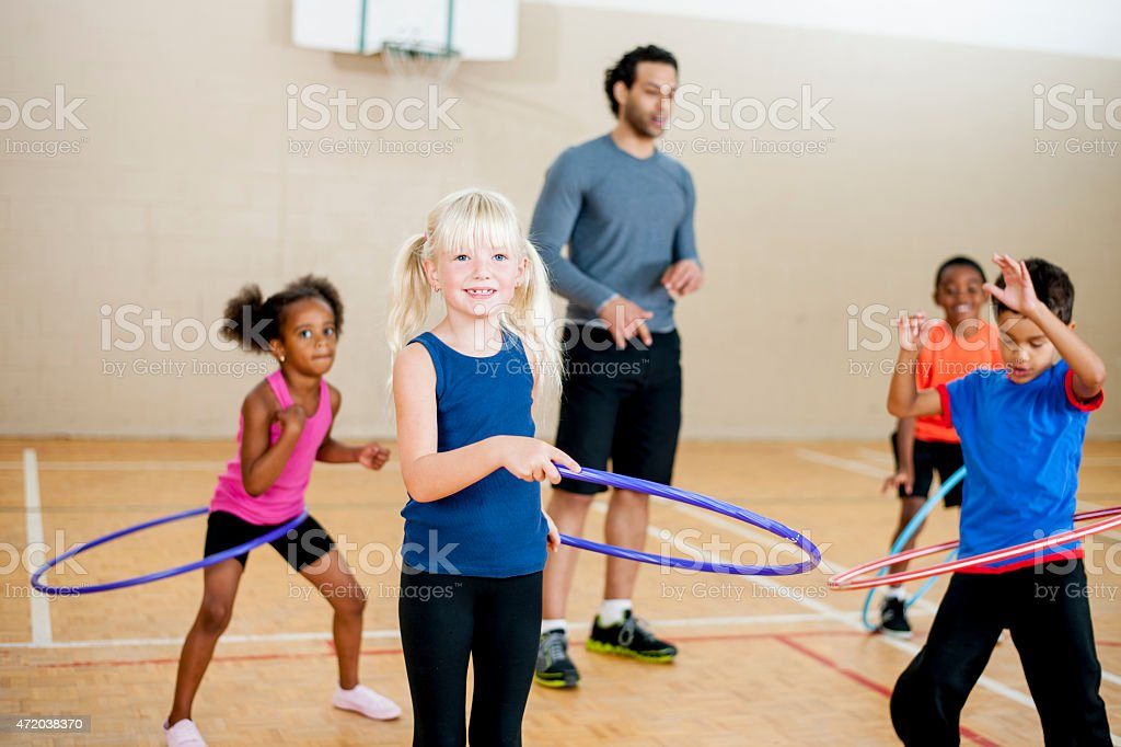 Children's Hula Hoop Lessons stock photo