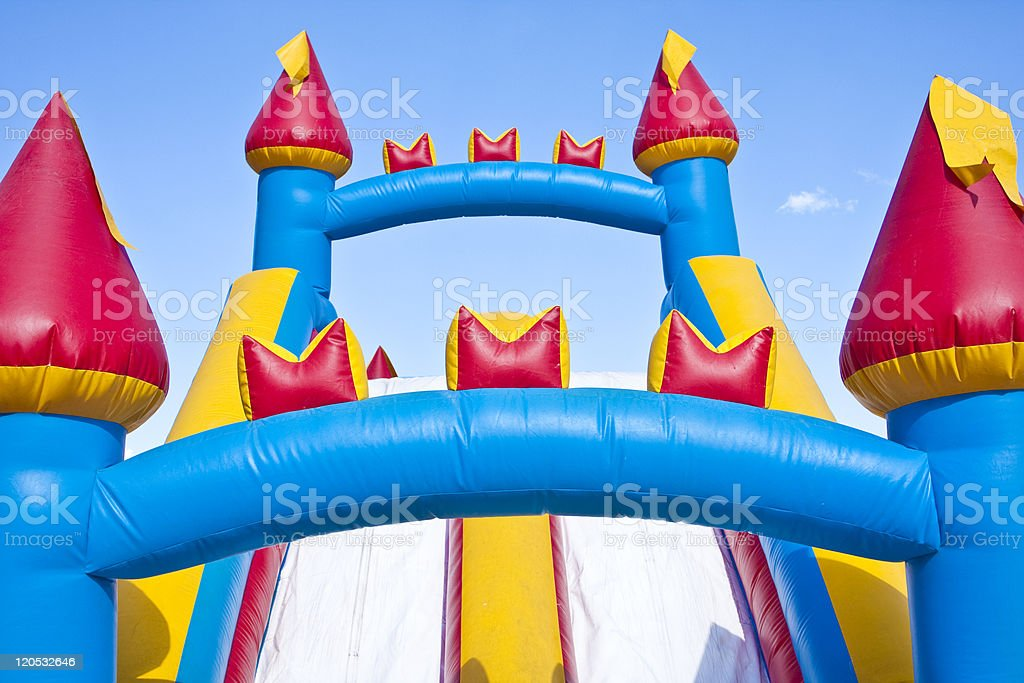 Children's Inflatable Castle Jumping Playground stock photo