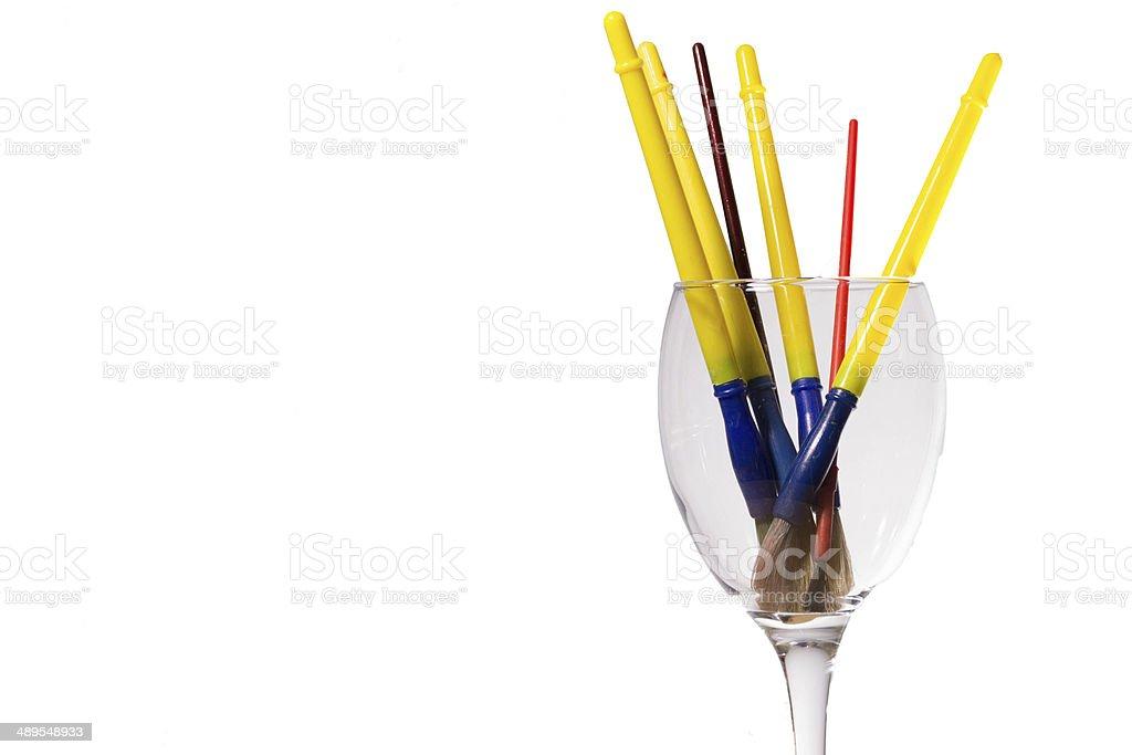 childrens paint brushes stock photo
