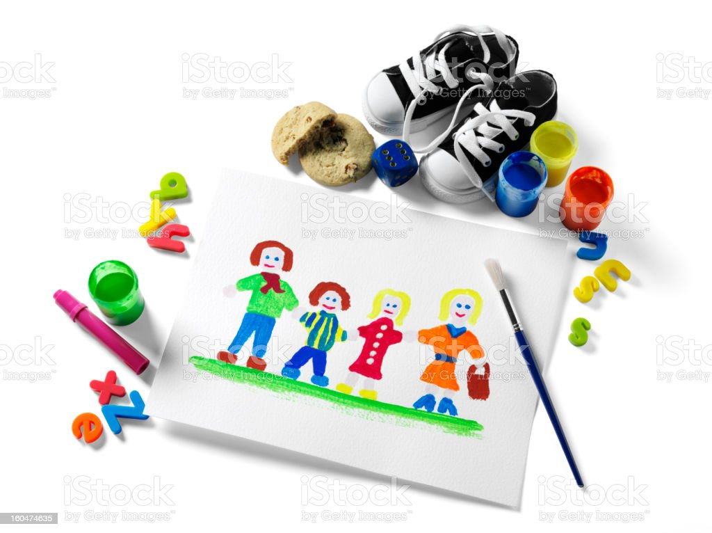 Children's Painting of a Family royalty-free stock photo