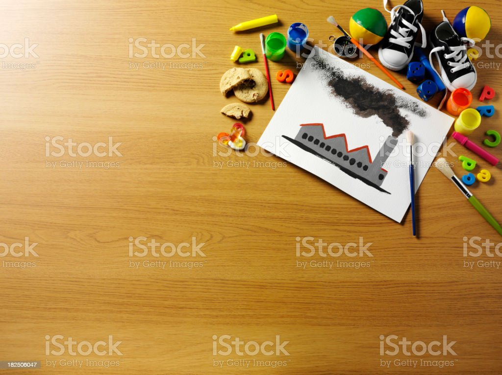 Children's  Painting of Industry royalty-free stock photo