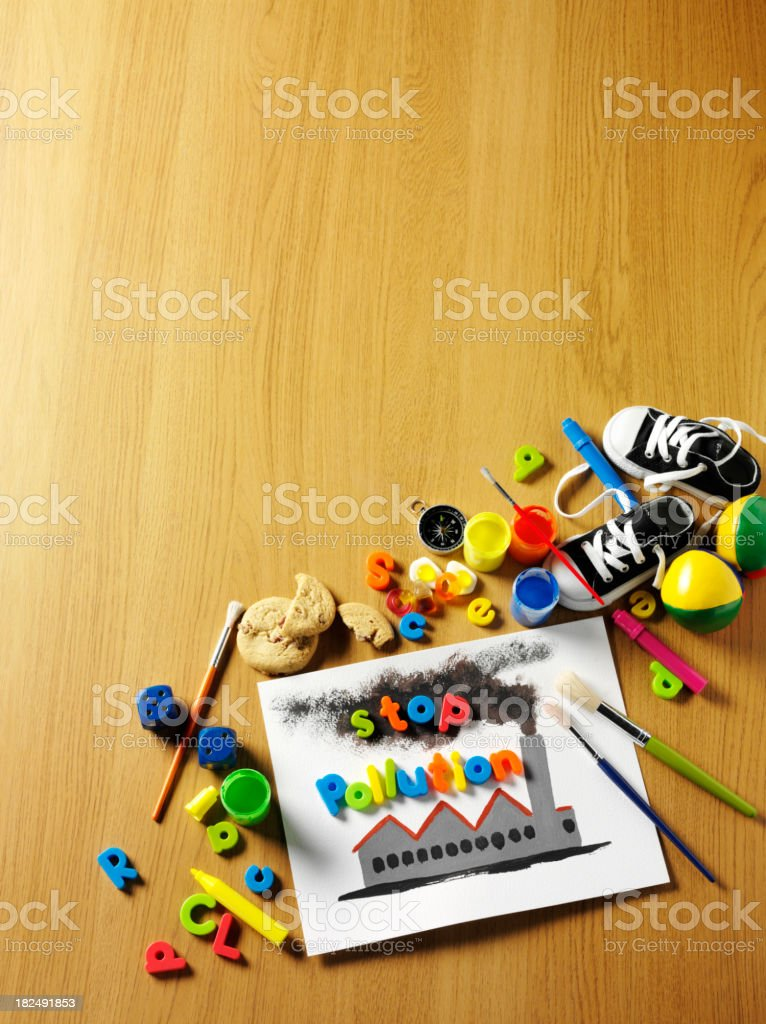 Children's Painting of Pollution royalty-free stock photo