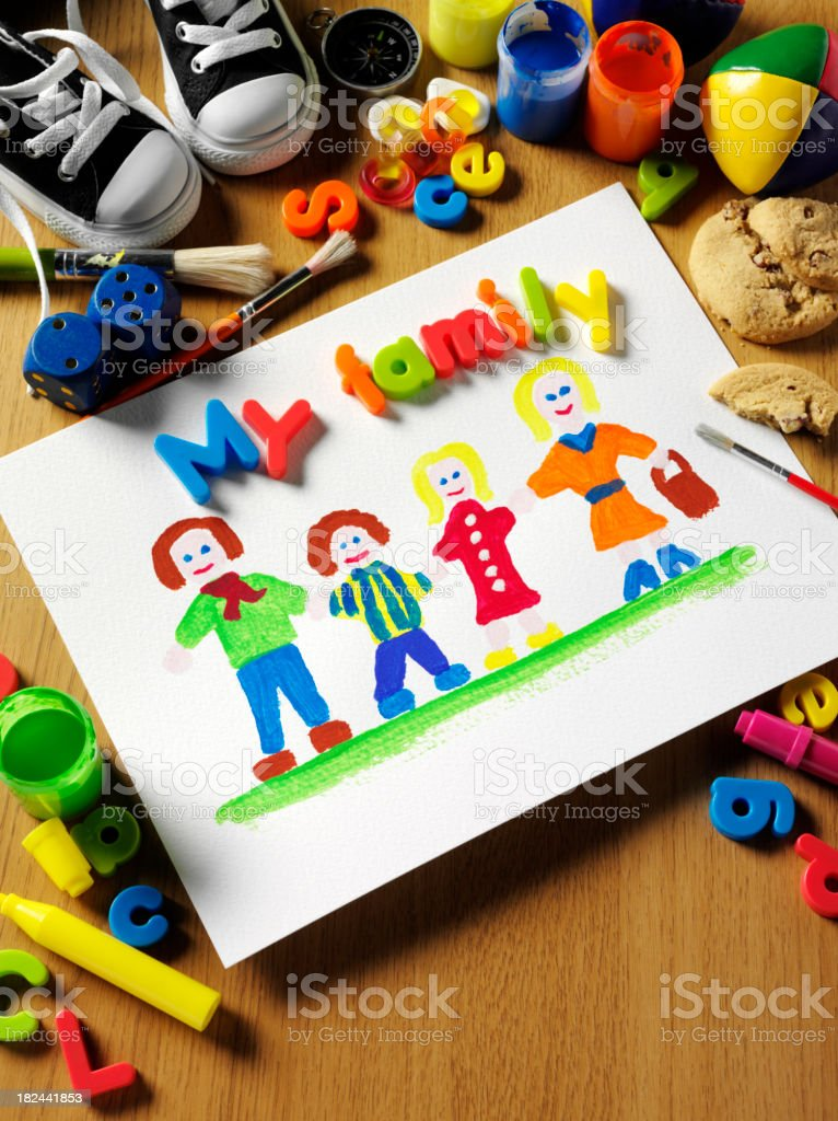 Children's  Painting of their Family royalty-free stock photo