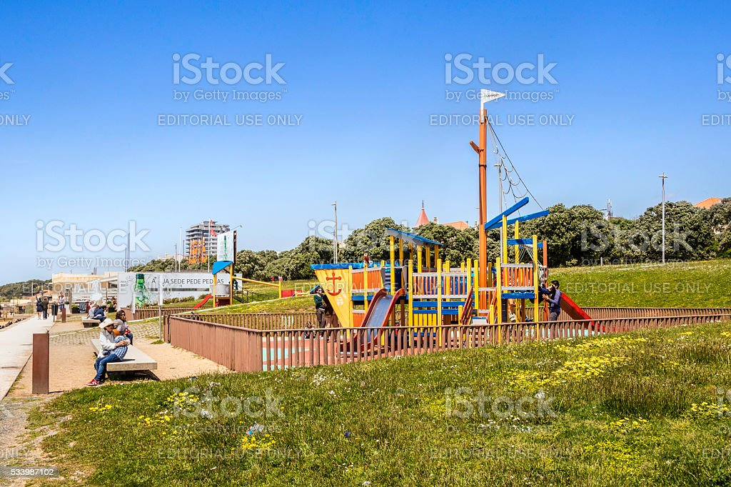 Childrens play pen in the Foz, Porto stock photo