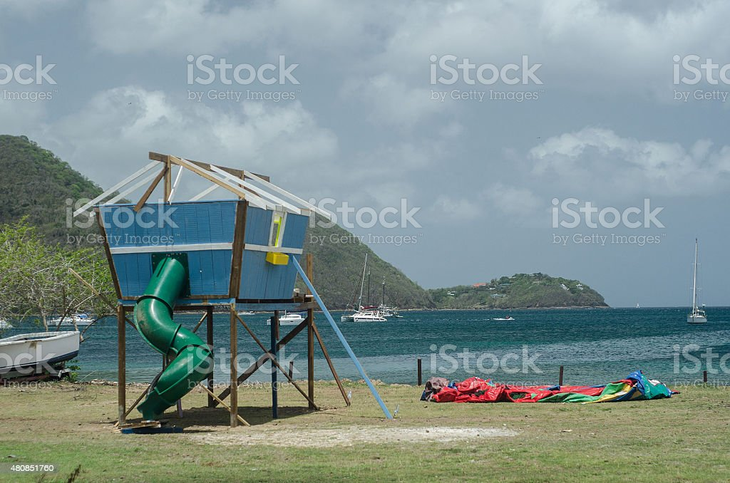 childrens playground at beach in summer stock photo