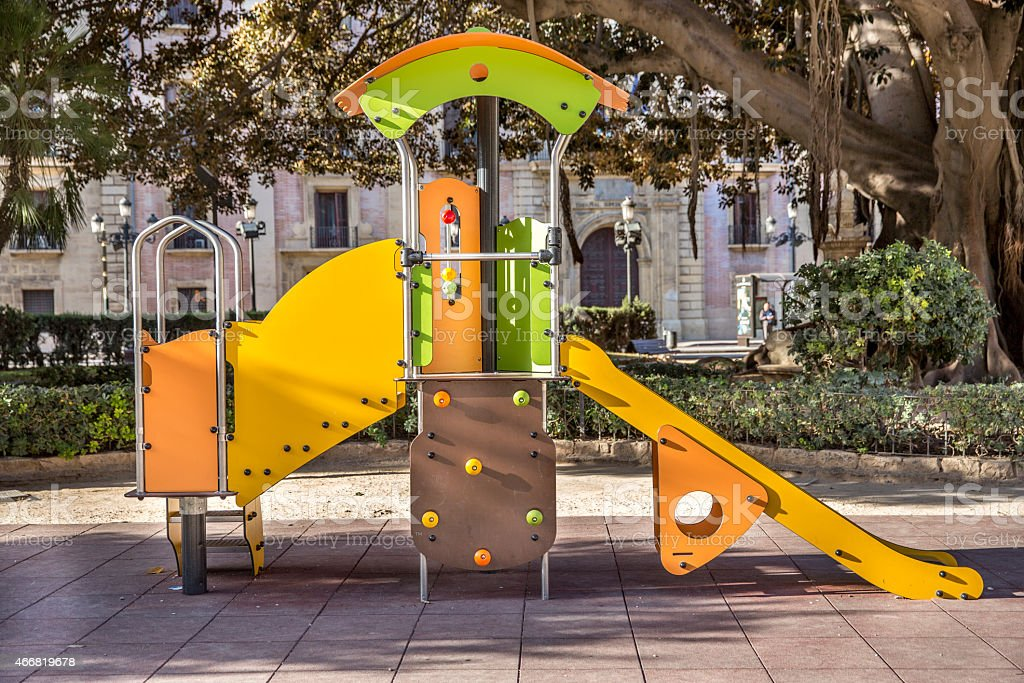 Children's Playground in a city park stock photo