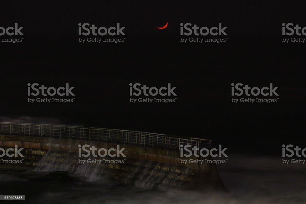 Children's Pool Moonset stock photo