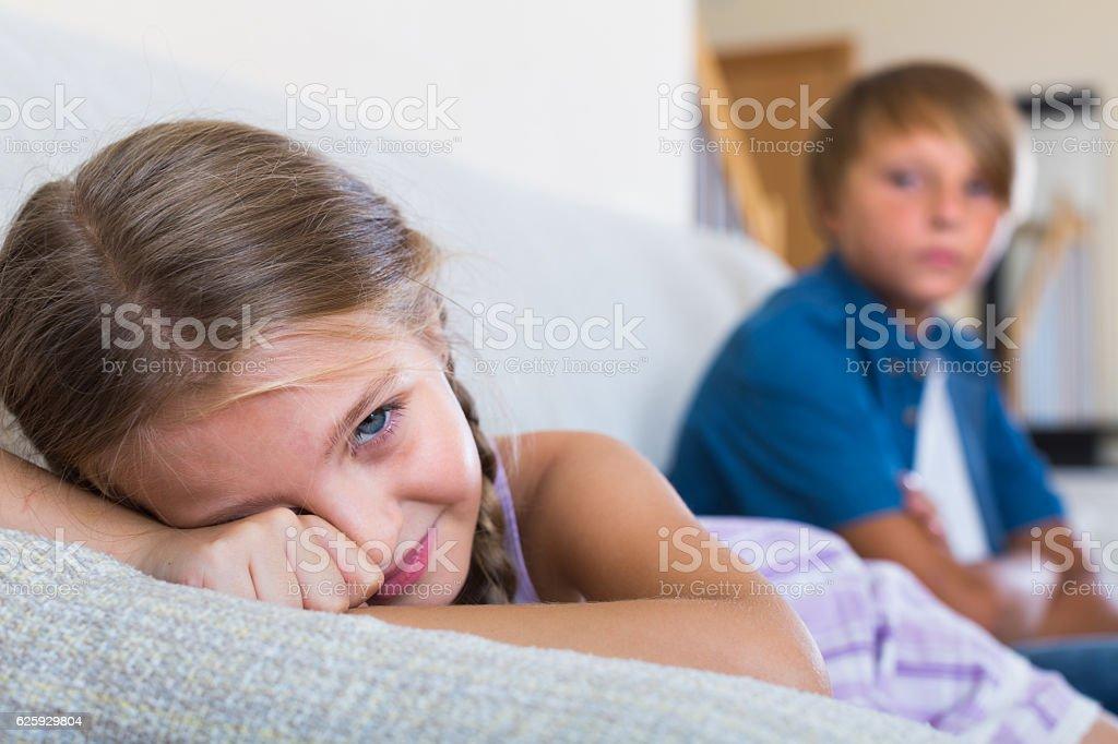 Children's quarrel indoor stock photo