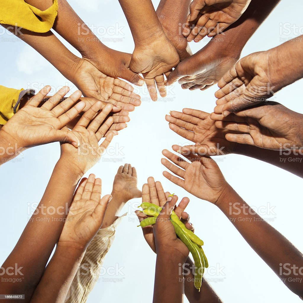 Childrens raised hands royalty-free stock photo