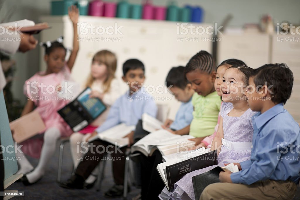 Children's religious program stock photo