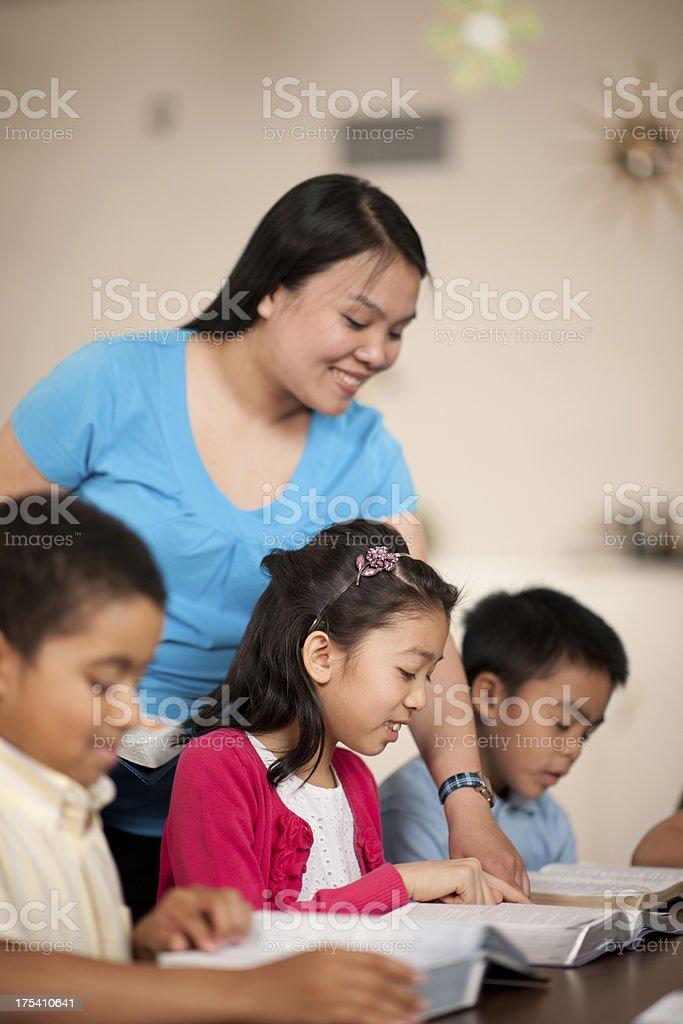 Children's religious program stock photo