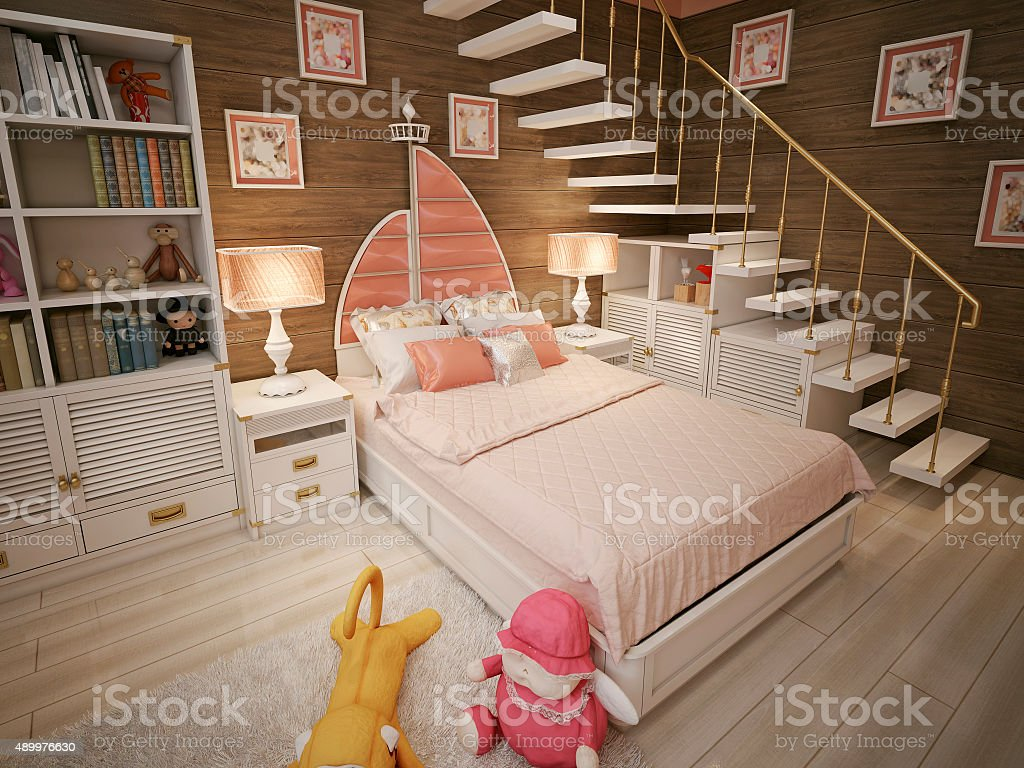 Children's room for a girl in pink stock photo