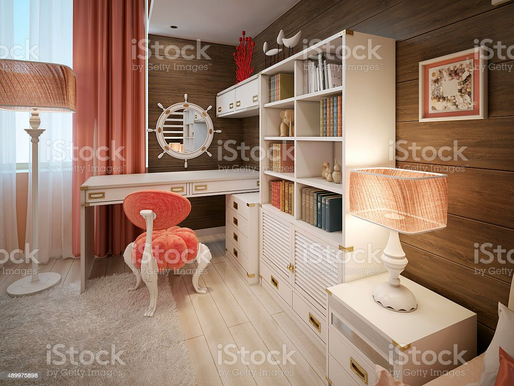Children's room in a marine style stock photo