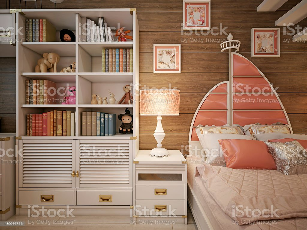Children's room in the neoclassical style stock photo